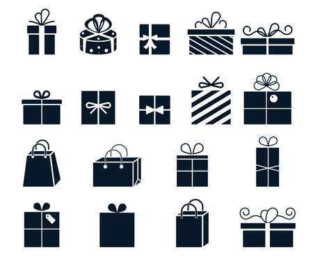 Gift wrapping. Vector icons with boxes. Gifts for birthday and holiday.