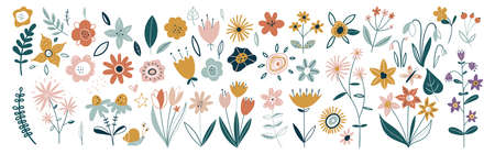 Flower collection with leaves, floral bouquets. Vector flowers. Spring art print with botanical elements. Happy Easter. Folk style. Posters for the spring holiday. icons isolated on white background. Ilustracja
