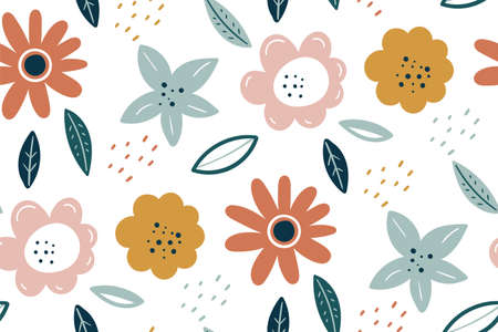 Spring texture. Multicolored flowers on a white background. Vector Easter pattern. Scandinavian style of small flowers. Floral Pattern. Botanic and abstract seamless pattern with flowers and leaves.