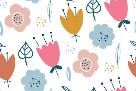 Seamless pattern with creative decorative flowers. Creative floral texture. Great for fabric, textile Vector Illustration. Hand drawn scandinavian style. Vector illustration for fashion textile print.