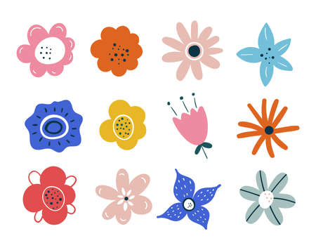 Set of spring summer flowers isolated on white background. Easter decoration. Set of floral branch. Hand drawn elements. Good for greeting cards, invitations, flyers and other graphic design. leaves