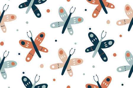 Seamless pattern with butterflies design and hand drawn elements. Seamless fashion trendy fabric texture. Vector wallpaper. Illustration of seamless textile background, pattern summer.