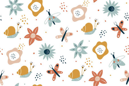 Floral seamless pattern with butterflies, hand drawn vector design. Seamless fashion trendy fabric texture. Vector wallpaper. Illustration of seamless textile background. summer flowers.