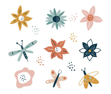 Flower and branch collection. Floral. Flowers, peonies, anemones, daisies, and cornflowers isolated on white background. Vector illustration. Scandinavian style.