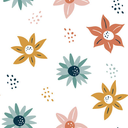 Abstract seamless pattern with flowers and leaves, hand drawn background. collection floral pattern. Spring, summer romantic blossom flower garden.