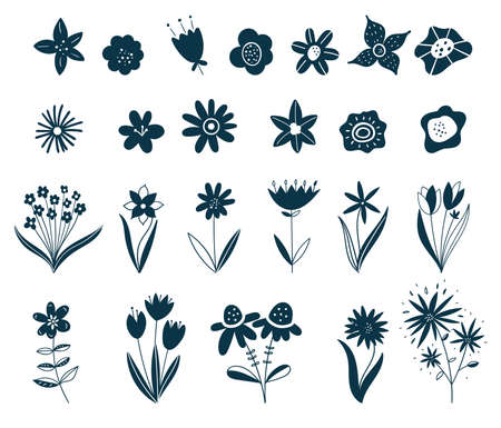 Scandinavian flower elements. Doodle plants, leaves flowers and branches vector set. Wildflowers. Floral elements for your design. Vector illustration. Black silhouettes of summer and spring flowers.