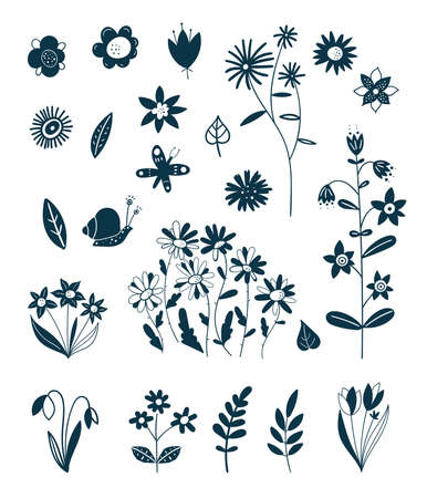 Decorative elements of spring and summer plants. Easter decoration. Silhouettes of flowers. Wildflowers. Wild grass. Floral elements for your design. Vector illustration. Ilustracja
