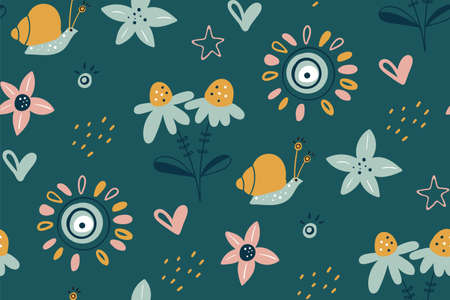 Spring summer flower texture. Garden flower, plants, botanical, seamless pattern. Good for poster, card, invitation, flyer, cover, banner, placard, brochure and other graphic design. Easter motive.