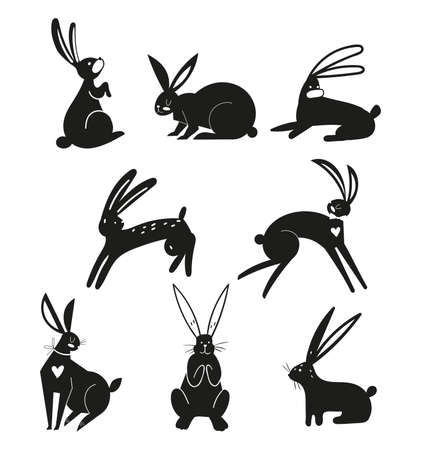 Silhouettes of black rabbits isolated on a white background. Easter bunnies in vector style. Silhouettes of animals. Set of hares. Ilustracja