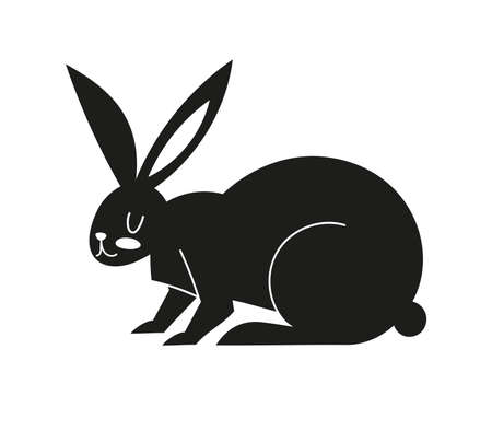 Black icon with a hare. Silhouette with Easter bunny. Vector illustration with animal isolated on white background.