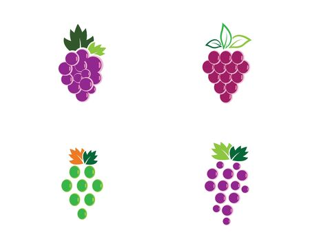 Bunch of wine grapes with leaf icon for food apps and websites Vector Illustration