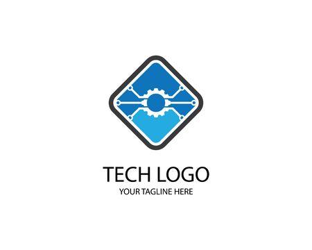 Technology logo template vector icon illustration design