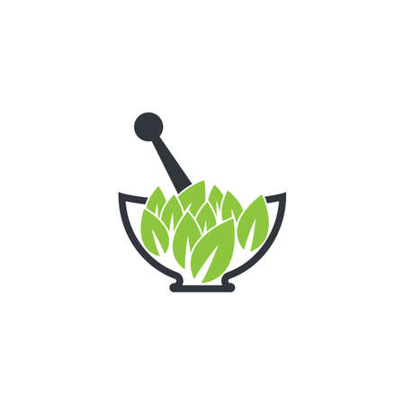 Herbal medicine logo template vector icon illustration