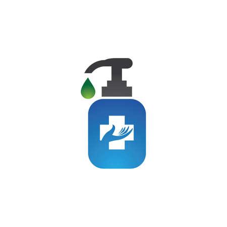 Hand sanitizer icon logo vector design Logó