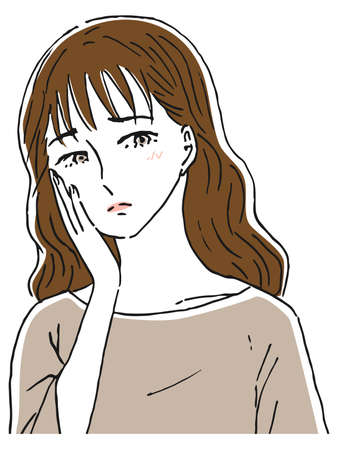 Woman with hand on cheek Dissatisfied