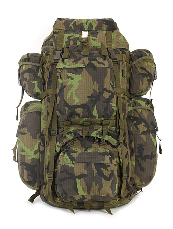 Military big backpack isolated on white. Front.