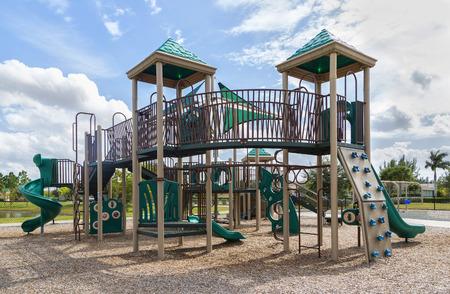 on playground: playground with slides and climbing frame, FLorida Stock Photo