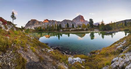 hochalpenstrasse: Limides Lake and Mount Lagazuoi panorama. Dolomites. Italy