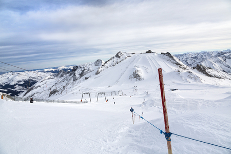 moguls: Hintertux Glacier with gondolas, ski runs and pistes in Ziilertal Alps. Austria Stock Photo