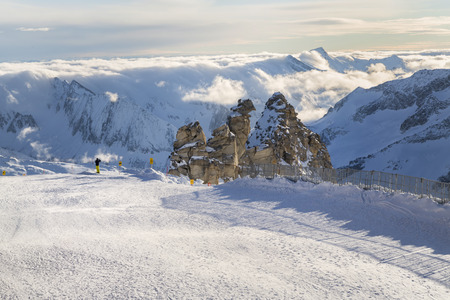 moguls: Hintertux Glacier view from top, Ziilertal Alps. Austria Stock Photo