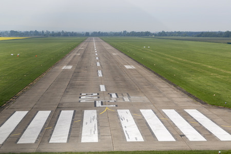 Airport runway with marking.