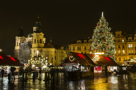 PRAGUE, 1 DECEMBER 2014 - Christmas light. Old Town Square at Christmas time, Prague, Czech Republic.