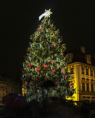 old town square: Christmas light. Old Town Square at Christmas time, Prague, Czech Republic. Stock Photo