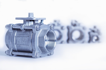 coupling: Group 4 valves, different sizes, ball valve with selective focus on thread fittings