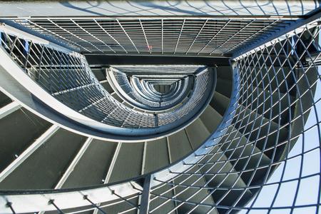 friedrichshafen: Metal spiral staircase to the tower in Friedrichshafen, GERMANY Stock Photo