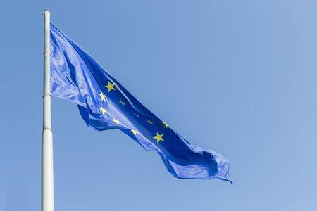 friedrichshafen: Flags of Europe at Lake Constance in Friedrichshafen harbor. Stock Photo