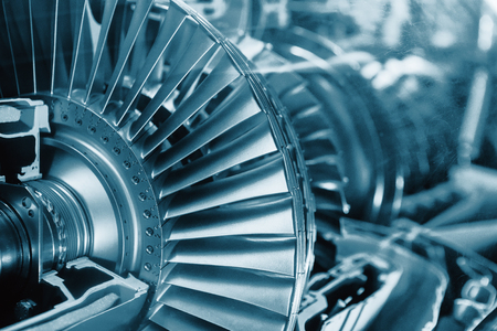 chamber of the engine: Turbine Engine Profile.  Aviation Technologies. Aircraft jet engine detail in the exposition