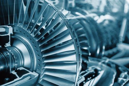Turbine Engine Profile. Aviation Technologies. Vliegtuig straalmotor detail in de expositie