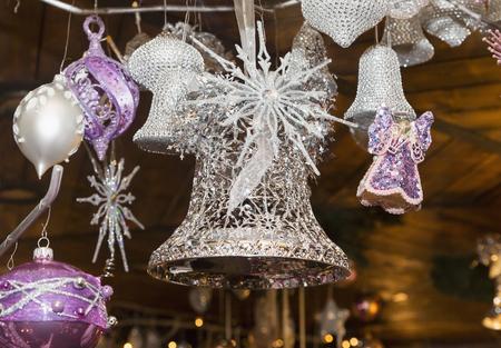 creche: Christmas balls, traditional decorations for Christmas tree, purple silver combination, Czech republic Stock Photo