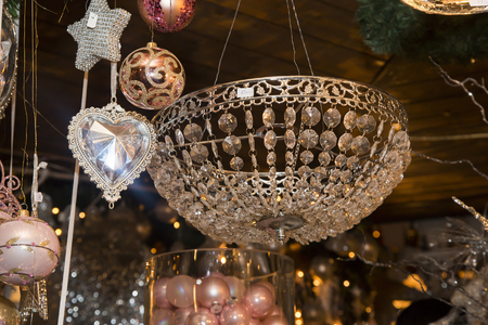 crystal heart: Crystal heart pendant and a basket with Christmas balls, old pink, Czech republic Stock Photo
