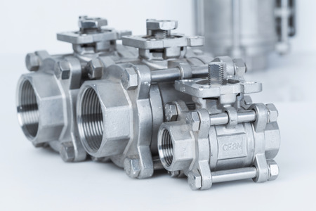 Group 3 valves, different sizes, ball valve with selective focus on thread fittings