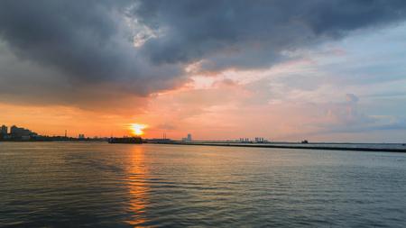 Colorful sunset over Jakarta, Java, Indonesia