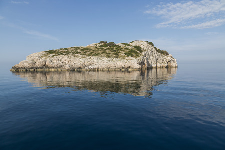 kornati: Magnificent azure sea and limestone islands on a beautiful summer day. in National Park Kornati, Croatia