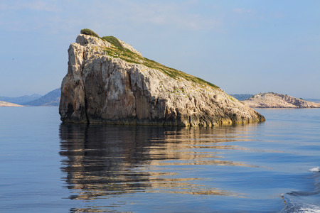 kornati national park: Magnificent azure sea and limestone islands on a beautiful summer day. in National Park Kornati, Croatia