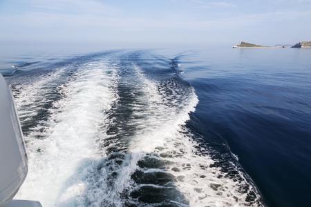 seaway: Waves behind boat underway, Croatia