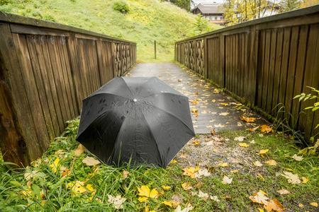 umbrella on the wooden bridge. One way.