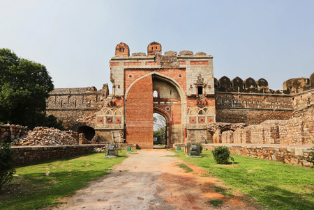 bharatanatyam: Purana qila, built on the site of the most ancient of the numerous cities of Delhi, Indraprastha, India