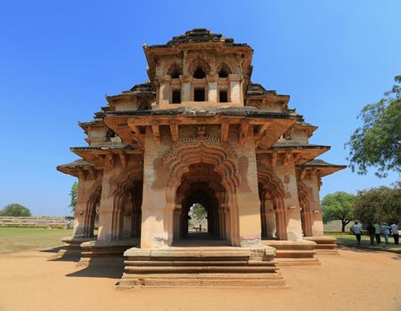 Vintage retro effect filtered hipster style travel image of Lotus Mahal palace ruins. Royal Centre. Hampi, Karnataka, INDIA