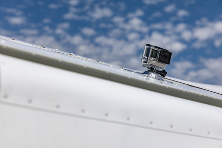 Detail shot with action camera for extreme sports mounted on a sports aircraft Zdjęcie Seryjne