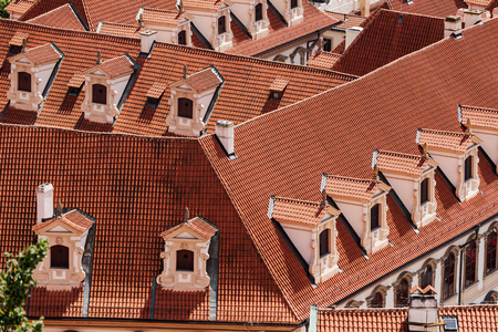old red roofs with dormers from the air in Old town Prafue Archivio Fotografico