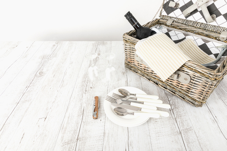 picnic basket and table place on white background, picnic table