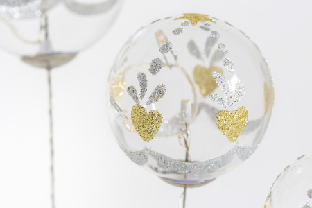Christmas balls, traditional decorations for Christmas tree, white