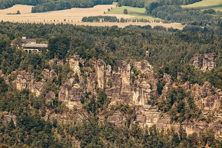 The Bastei bridge, View from Lilienstein rock, Saxon Switzerland National Park, Germany Archivio Fotografico