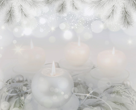 Advent lights Christmas candles four flames are burning, abstract background Archivio Fotografico