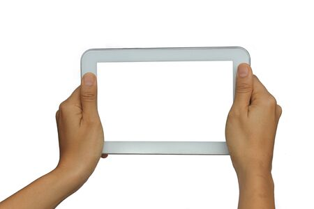 blank tablet: Holding blank screen tablet, isolated on white background