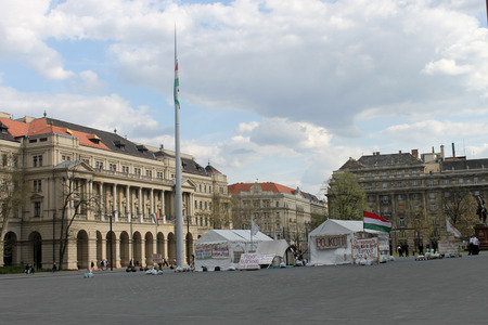 protesters: Tents of Protesters in Budapest 2015